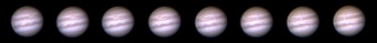 Giove in sequenza (21/Apr/04-21:11TU<->23:20TU Registax 200/600frme 50fps10Hz Gamma 0.6 Wavelet 10,2.5,1